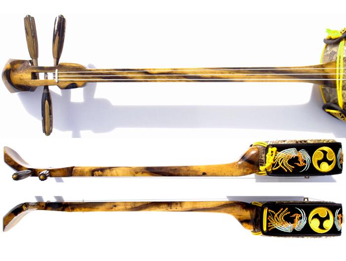 画像5: 最高級銘木黒柿三線セット 透明漆塗り・与那型 大型