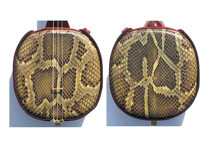 画像3: 本皮一枚張り三線セット ワイン色