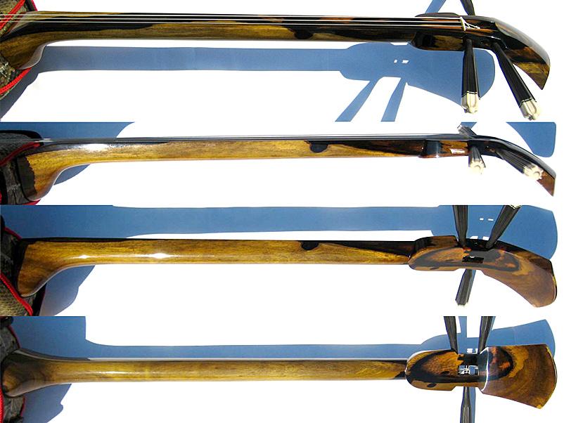 画像4: 最高級八重山クルチ(八重山黒木 黒檀)三線セット 透明漆塗り・真壁型